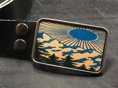 Mountain scenery belt buckle Over the hills by flightpathdesigns, $38.00