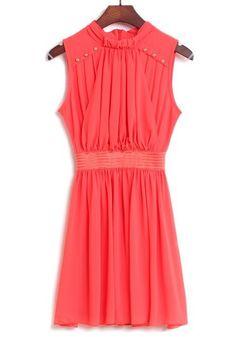 Red Striped Patchwork Pleated Rivet Sleeveless Chiffon Dress