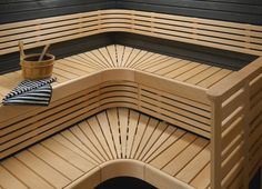 Laudekokonaisuus + seinäpaneelit - It's a full package with wall panels and sauna-benches Sauna Design, Finnish Sauna, Saunas, Spa, Stairs, House, Benches, Home Decor, Wellness