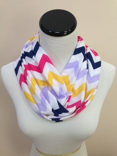 Colorful Chevron Jersey Infinity Scarf by oneforonecreations, $15.00