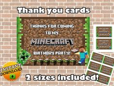 MINECRAFT THANK YOU CARDS  http://partyprintable.weebly.com/  Minecraft printable decoration, Minecraft birthday party decoration, Minecraft gifts, Minecraft invitation, Minecraft, Minecraft creeper, Creeper decoration, Minecraft digital file, Minecraft free decoration, minecraft printables, minecraft food, minecraft stickers, creeper printables