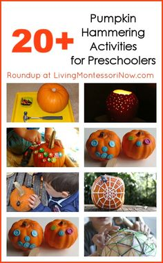 Round-up of 20+ pumpkin hammering activities for preschoolers; great for fall and Halloween; post includes Montessori Monday permanent collection