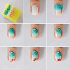 The advantage of the gel is that it allows you to enjoy your French manicure for a long time. There are four different ways to make a French manicure on gel nails. Spring Nail Art, Spring Nails, Plage Nail Art, Nail Art Designs, Beach Nail Art, Beach Art, Summer Nails 2018, Sea Nails, Uñas Fashion