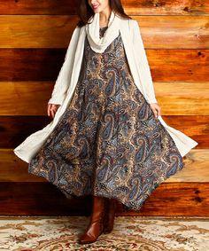 Look at this #zulilyfind! Brown Paisley Handkerchief Dress by Reborn Collection #zulilyfinds