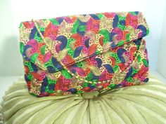 Retro Clutch // Purse Rainbow Burst of Color Sulky by cachecastle
