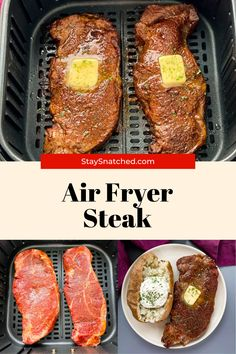 This Juicy Air Fryer Steak recipe is tender and made using a homemade rub for optimal flavor. Whether you're looking to cook your steak medium, medium-rare, etc. this is the recipe for you! Air Fry Recipes, Air Fryer Dinner Recipes, Steak Recipes, Healthy Recipes, Cinderella Recipe, Air Fryer Steak, Marinated Steak, Air Fryer Healthy, Party Food And Drinks