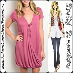 """SALE✨NWT Mauve Lace Up V-Neck Draped Dress Tunic NWT Mauve Rose Lace Up V-Neck Draped Dress Tunic  Available in S, M, L Measurements taken in inches from a size small: Length: 33"""" Bust: 36"""" Waist: 36""""  Features  • v-neckline  • lace up detailing at bust • draped front • short sleeves  • soft, breathable material w/stretch • can double as a tunic as well as a dress  95% Rayon/5% Spandex  Bundle discounts available  No pp or trades ~ item # 1o1-5-2-0300MRD Pretty Persuasions Dresses Mini"""