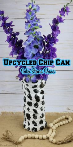 Don't trash that chip can when it is empty! You can turn it into an upcycled chip can and turn it into a pretty stone vase! Black River Rock, Reuse, Upcycle, Fake Flowers, Craft Stores, Easy Crafts, Empty, Craft Projects, Recycling