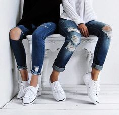denim and white sneakers