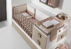 If make the bed twin sized so it can be turned into a toddler bed with the side rail taken down Baby Boy Rooms, Baby Bedroom, Baby Room Decor, Baby Cribs, Nursery Room, Kids Bedroom, Nursery Themes, Baby Room Design, Baby Bedding Sets