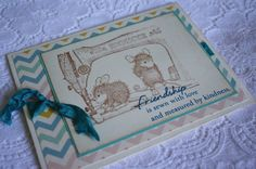 House Mouse Friendship Card - Chevron and Sewing Machine - Stamped