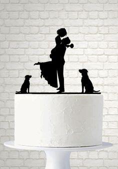 Personalizzato da sposa Silhouette Cake Topper, Pet Silhouette, Wedding Cake Topper, sposa e sposo Cake Topper, topper torta nuziale di cane A619