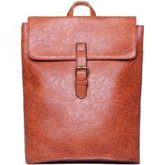 Brown Belt Buckle PU Backpacks ($22) ❤ liked on Polyvore featuring bags, backpacks, romwe, brown, buckle bag, pu bag, red bag, pu backpack e polyurethane bags