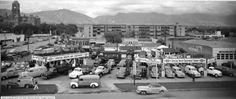 chevrolet dealership black and white photos New Trucks, Chevy Trucks, Vintage Cars, Vintage Photos, Chevrolet Dealership, Old Gas Stations, Salt Lake City, Historical Society, Dolores Park