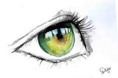 Green Eye in Watercolour by De1in