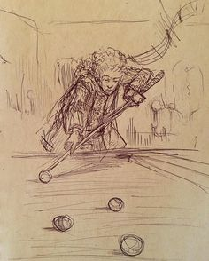 Mozart playing pool by himself. #artistsoninstagram #mozart #draw #wolfgangamadeusmozart #instaart #classicalmusic #pool #drawing #sketch #sketches