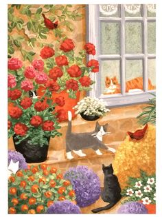 aceo original acrylic painting cats animals garden cardinals whimsical flowers #Miniature