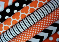 Orange and Black Halloween Fabric Bundle by SouthernStitchFabric