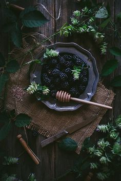 Wistfully Country, Oregano Honey Cake With Blackberry Buttercream + A...