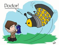 If Charles Schulz had Invented Doctor Who instead of Peanuts ~ Kuriositas 13th Doctor, Eleventh Doctor, Funny Celebrity Pics, Charlie Brown Characters, Doctor Who Fan Art, Dalek, Dr Who, Way Of Life, Superwholock