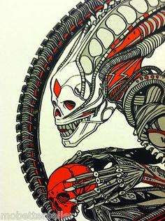 Mondo Tees Xenomorph Handbill by Tyler Stout Red Prometheus Alien Hr Giger Alien, Mondo Tees, Drawing Sketches, Drawings, Aliens Movie, Alien Vs Predator, Alien Art, Rock Posters, Visionary Art
