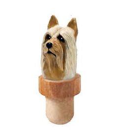 Silky Terrier Head Cork Bottle Stopper