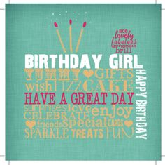 Jeannine Rundle - AD3219B CAKE BIRTHDAY GIRL WORDS