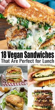 Vegan Sandwiches - 18 Delicious Vegan Sandwich Recipes - - If you're looking for vegan sandwiches, this is the right place for you! We have 18 easy and delicious vegan sandwiches for you that are perfect for lunch! Vegan Sandwich Recipes, Vegan Dinner Recipes, Whole Food Recipes, Cooking Recipes, Sandwich Ideas, Vegetarian Sandwiches, Healthy Sandwiches, Vegan Crockpot Recipes, Vegan Food Recipes