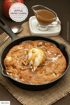Apple+Skillet+Cookie+with+Maple+Butterscotch+Sauce+-+the+most+comforting+winter+dessert+ever.