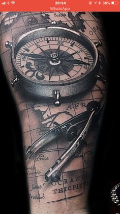 Our Website is the greatest collection of tattoos designs and artists. Find Inspirations for your next Clock Tattoo. Search for more Tattoos. Viking Compass Tattoo, Compass And Map Tattoo, Nautical Compass Tattoo, Nautical Tattoos, Map Tattoos, Forearm Tattoos, Body Art Tattoos, Travel Tattoos, Ankle Tattoos