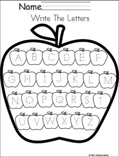 Free Editable Letter Writing Worksheet Apples Theme This worksheet has traceable uppercase letters for your students to practice. You can also edit this worksheet for more fun and practice using A… Preschool Writing, Preschool Printables, Preschool Learning, Preschool Activities, Teaching, Learning Letters, Free Printables, Letter Writing Worksheets, Free Math Worksheets
