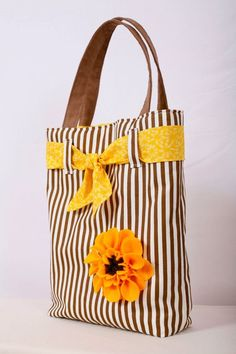 diy inspiration. if it doesn't work, then I'll buy this one! lol     tote bag on etsy. striped tote bag. applique tote bag. sunflower tote bag. felt sunflower. white and brown tote bag.: