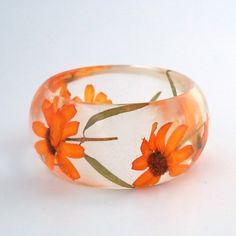 Orange Zinnias Resin Bangle. Chunky Resin Bangle Bracelet. Pressed Flower Bracelet. Orange Real Flowers