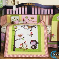 13 Piece Crib Bedding Set - Home Furniture Design Nursery Decor, Bedroom Decor, Monkey Nursery, Home Furniture, Furniture Design, Bedroom Design Inspiration, Best Crib, Baby Bedding Sets, Diy Bed