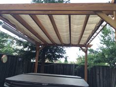 Simple pergola cover, $20 painters drop cloth. Attached with grommets and wire.