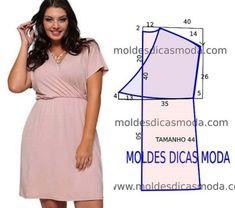 Платье с запахом, выкройка на размер 44 (евр.) #простыевыкройки #простыевещи #шитье #платье #дляполных #выкройка