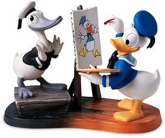 Donald - Then and Now : Donald is plussed with a pewter paintbrush. Come explore more from our Walt Disney Classics Collection selection. We're celebrating 40 years of selling Disney-only Collectables and Souvenirs, come join us Walt Disney, Disney Duck, Disney Magic, Disney Mickey, Disney Art, Disney Movies, Disney Stuff, Donald Disney, Disney Best Friends