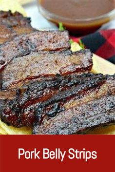 You'll love these easy to make Pork Belly Strips. They have so much flavor and taste delicious. If you love grilling, you need to try these tasty strips! Pork Belly Strips, Pork Belly Slices, Grilling Recipes, Pork Recipes, Learn To Cook, Food To Make, How To Cook Pork, Tasty, Yummy Food