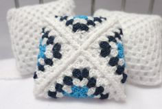 Miniature crochet pillow in white and blue  by MiniGio