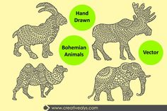 This exceptional free stuff is a set of 4 excellent Hand Drawn Bohemian Animals illustrations modified to support the hand drawn feel and keep clean edges. These hand drawn animal illustrations are ideal for t-shirt, prints, textile, merchandise, cards and even more. The set includes vector format and individual transparent PNG's ready to use.