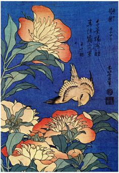 Katsushika Hokusai A Bird And  Flowers Art Poster Print Posters sur AllPosters.fr