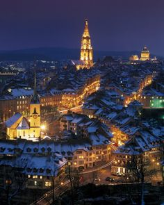 This is where my Feutz ancestors came from!  Pretty night sky in Bern, Switzerland.