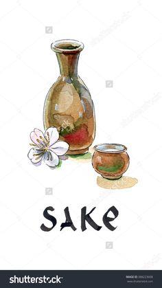 """缘故,""""日本米酒""""瓶子和杯子,日本酒,手绘,水彩插图-食品及饮料,物体-海洛创意(HelloRF)-Shutterstock中国独家合作伙伴-正版素材在线交易平台-站酷旗下品牌"""