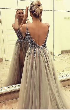 V-Neck Appliques A-Line Prom Dresses,Long Prom Dresses,Cheap Prom Dresses, Evening Dress Prom Gowns, Split Prom Dresses, Grey Prom Dress, A Line Prom Dresses, Tulle Prom Dress, Formal Dresses For Women, Cheap Prom Dresses, Sexy Dresses, Evening Dresses, Fashion Dresses