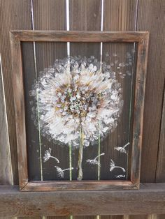 DandelionMake a wish recycled hand painting on by RebecaFlottArts