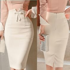 Buy Women Fashion High Waist Bowtie Skirt Autumn Office Lady Elegant Pencil Skirt Pure Color Slim Mid Skirts at Wish - Shopping Made Fun Pencil Skirt Dress, Pencil Skirt Casual, Pencil Skirt Outfits, Dress Skirt, Pencil Skirts, High Waisted Pencil Skirt, Elegant Dresses Classy, Elegant Outfit, Classy Dress