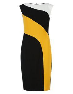 4-Way Stretch Curved Block Shift Dress