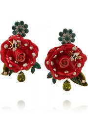 Dolce & Gabbana Gold-plated, Swarovski crystal and patent-leather clip earrings