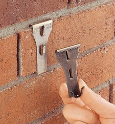 Brick Clip - Lee Valley Tools Brick Clips, Brick Wall Gardens, Apartment Deck, Brick Wall Decor, Hanger Clips, Lee Valley, Backyard Landscaping, Landscaping Ideas, Fall Planters