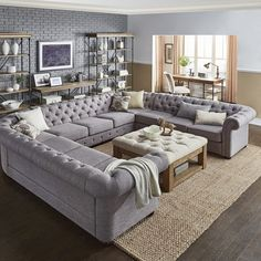 Three Posts Gowans Tufted Sectional Upholstery: Gray